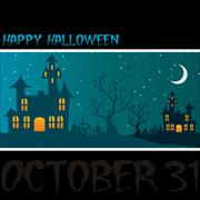 """haunted house """"happy halloween"""" card in vector format. - stock illustration"""