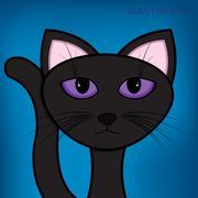 halloween black cat card in vector format. - stock illustration