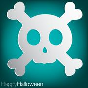skull and crossbones concave halloween card in vector format. - stock illustration