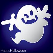 ghost concave halloween card in vector format. - stock illustration