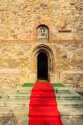 Red carpet to the church Stock Photos