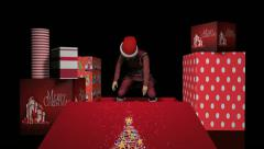 Christmas Elf Out Of The Box 3D Animation Stock Footage