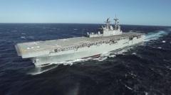 Future amphibious assault ship USS America (LHA 6) sails the Gulf. Stock Footage
