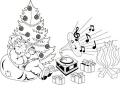 Santa Claus listening to music Stock Illustration