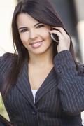 Latina hispanic woman talking on cell phone Stock Photos