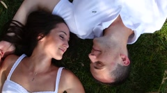Young couple in love outdoors - stock footage