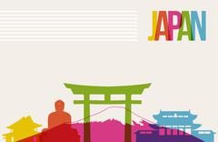 Stock Illustration of travel japan destination landmarks skyline background