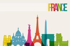 travel france destination landmarks skyline illustration - stock illustration