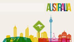 Stock Illustration of travel australia destination landmarks skyline background