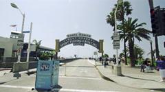 Santa Monica Sign Driving Through Entrance California Beach Ocean Pier LA 4K Stock Footage