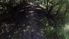 POV mountain bike riding through woods on Florida bike trail Stock Footage