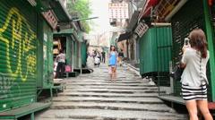 People Walking Down Long Staircase Sidewalk - Central Hong Kong Stock Footage