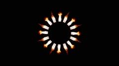Burning Sun Flower Shape Stock Footage