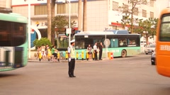 Directing traffic police, in China Stock Footage