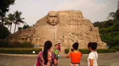 The statue of Mr. Sun Zhongshan, in China Stock Footage