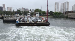 A domestic Car Ferry Boat between Guaruja and Santos in Sao Paulo, Brazil - stock footage