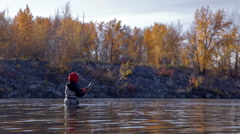 Fly Fisherman on Bow River Stock Footage