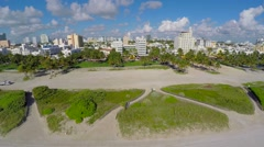 Aerial Beach to Deco Drive Ocean Drive Stock Footage