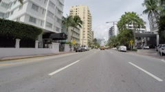 Collins Ave construction Driveing point of view Stock Footage