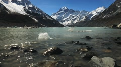 Mt cook and hooker lake shoreline Stock Footage