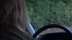 Lady Driving On Country Road - 03 Stock Footage