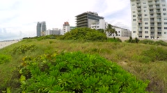 Aerial Dunes and Condos in Miami Beach Stock Footage
