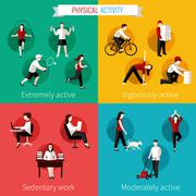 Physical activity flat set Stock Illustration