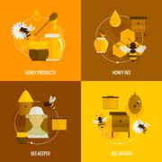 Stock Illustration of Bee honey icons flat