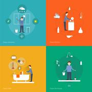 Cleaning flat set - stock illustration