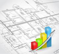 Stock Illustration of blueprint and business graph