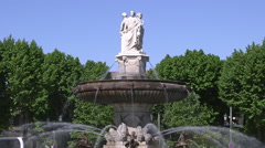 ROTUNDA FOUNTAIN STATUES, AIX EN PROVENCE, FRANCE Stock Footage