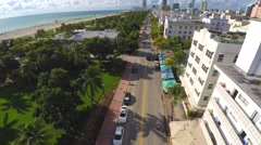 Aerial video Ocean Drive Deco Drive Stock Footage