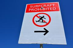 Surf craft prohibited  sign Stock Photos