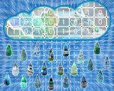 The rain is falling Stock Illustration