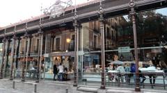 Outside of the Mercado de San Miguel in Madrid, Spain Stock Footage