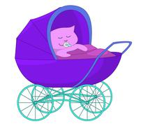 Baby cartoon in the baby carriage Stock Illustration