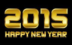 Happy new year 2015 - rectangular beveled golden font Stock Illustration