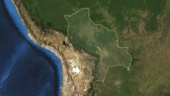 Bolivia. 3d earth in space - zoom in on Bolivia contoured on green 4k - stock footage