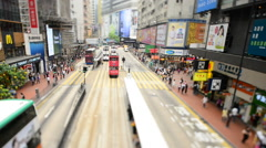 Pedestrians and Traffic in Central District Downtown Hong Kong Stock Footage