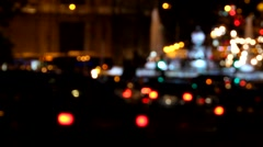 Out of focus light of traffic on the streets of Madrid, Spain Stock Footage