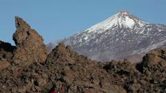 Teide volcano mountain top on Tenerife, Canary Islands, Spain Stock Footage