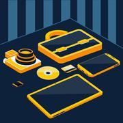Briefcase camera smartphone tablet sd memory card Stock Illustration