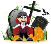 Vampire and pumpkins on the cemetery Piirros