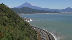 Mount Fuji and the Tomei Expressway in Shizuoka Prefecture - stock footage
