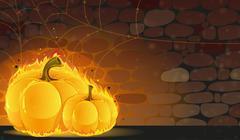dark dungeon and burning pumpkins - stock illustration