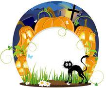 Jack o lanterns and black cat Piirros