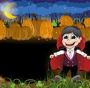 Vampire and  pumpkins Piirros