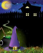 Witch hat, cauldron and haunted house Piirros