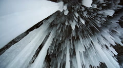 Panorama of Hanging Icicle Stock Footage