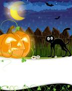 Jack o lantern and black cat Stock Illustration